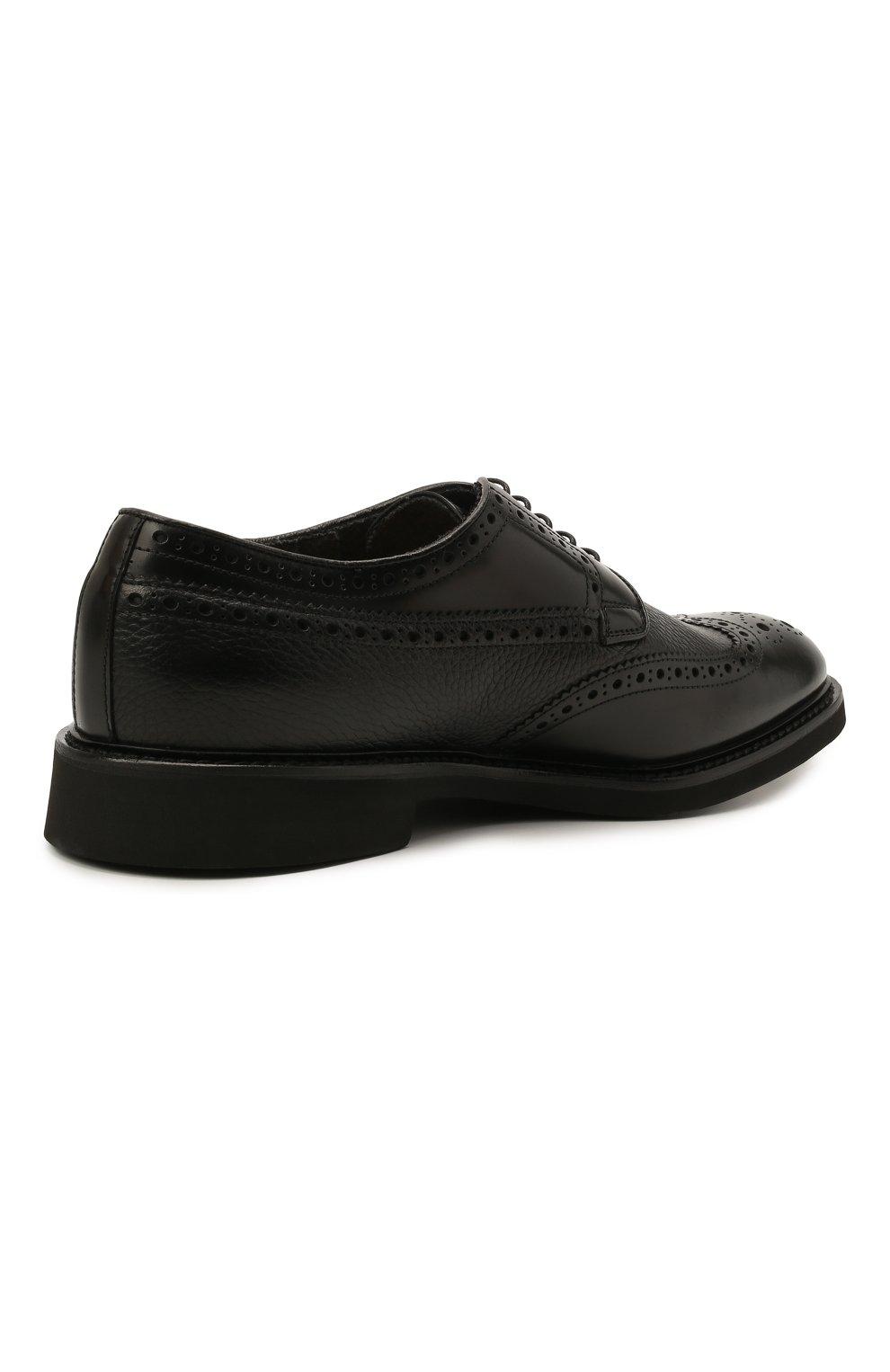 Мужские кожаные дерби DOUCAL'S черного цвета, арт. DU2478VER0PT547NN00 | Фото 4 (Мужское Кросс-КТ: Броги-обувь; Материал внутренний: Натуральная кожа, Текстиль; Стили: Классический)