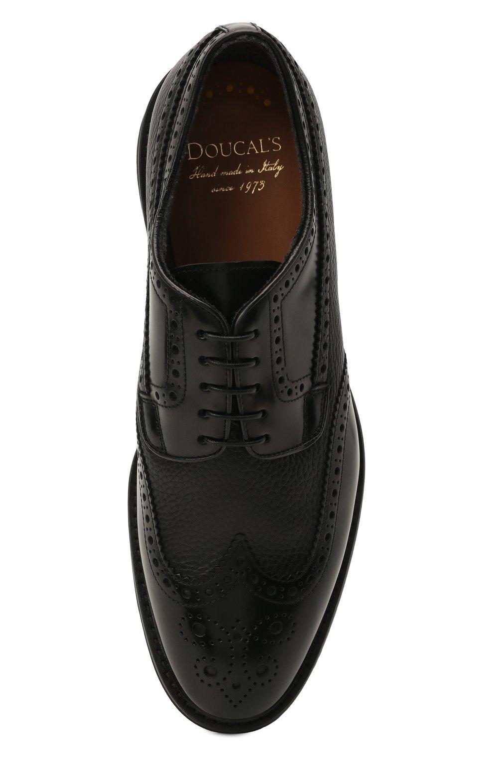 Мужские кожаные дерби DOUCAL'S черного цвета, арт. DU2478VER0PT547NN00 | Фото 5 (Мужское Кросс-КТ: Броги-обувь; Материал внутренний: Натуральная кожа, Текстиль; Стили: Классический)