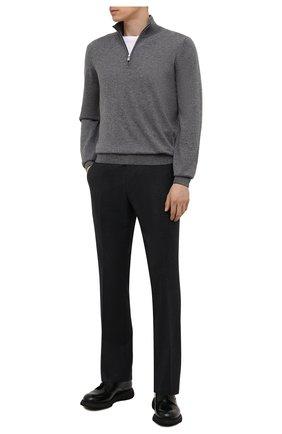 Мужские кожаные дерби DOUCAL'S темно-зеленого цвета, арт. DU2514ST0CUT0072V03 | Фото 2 (Материал внутренний: Текстиль, Натуральная кожа; Стили: Классический)