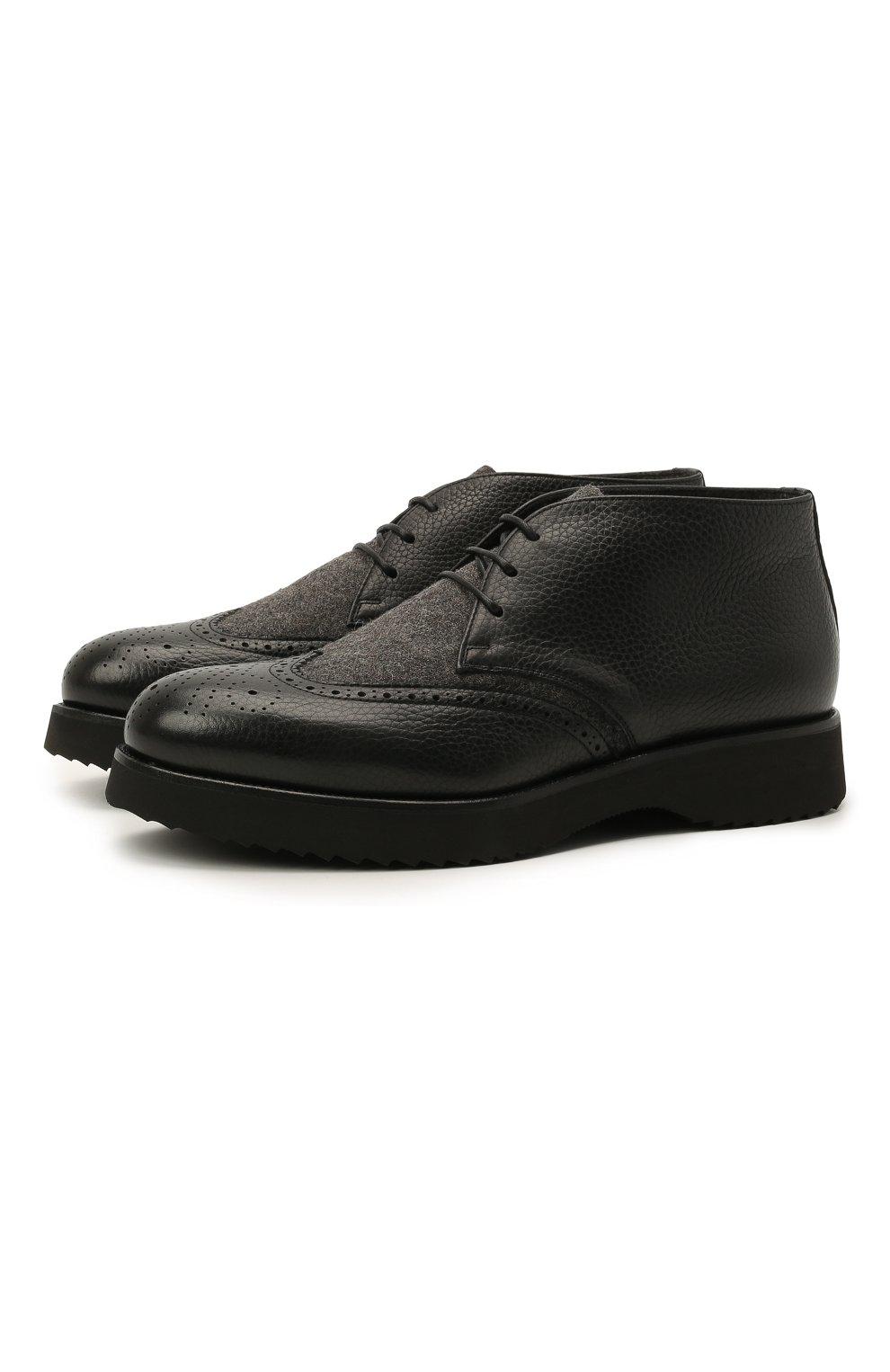 Мужские комбинированные ботинки DOUCAL'S черного цвета, арт. DU2888DAK0PT208NN00 | Фото 1 (Материал внешний: Текстиль; Мужское Кросс-КТ: Ботинки-обувь, Дезерты-обувь; Материал внутренний: Натуральная кожа, Текстиль; Подошва: Плоская)
