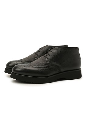 Мужские комбинированные ботинки DOUCAL'S черного цвета, арт. DU2888DAK0PT208NN00 | Фото 1 (Материал внутренний: Текстиль, Натуральная кожа; Подошва: Плоская; Мужское Кросс-КТ: Ботинки-обувь, Дезерты-обувь; Материал внешний: Текстиль)