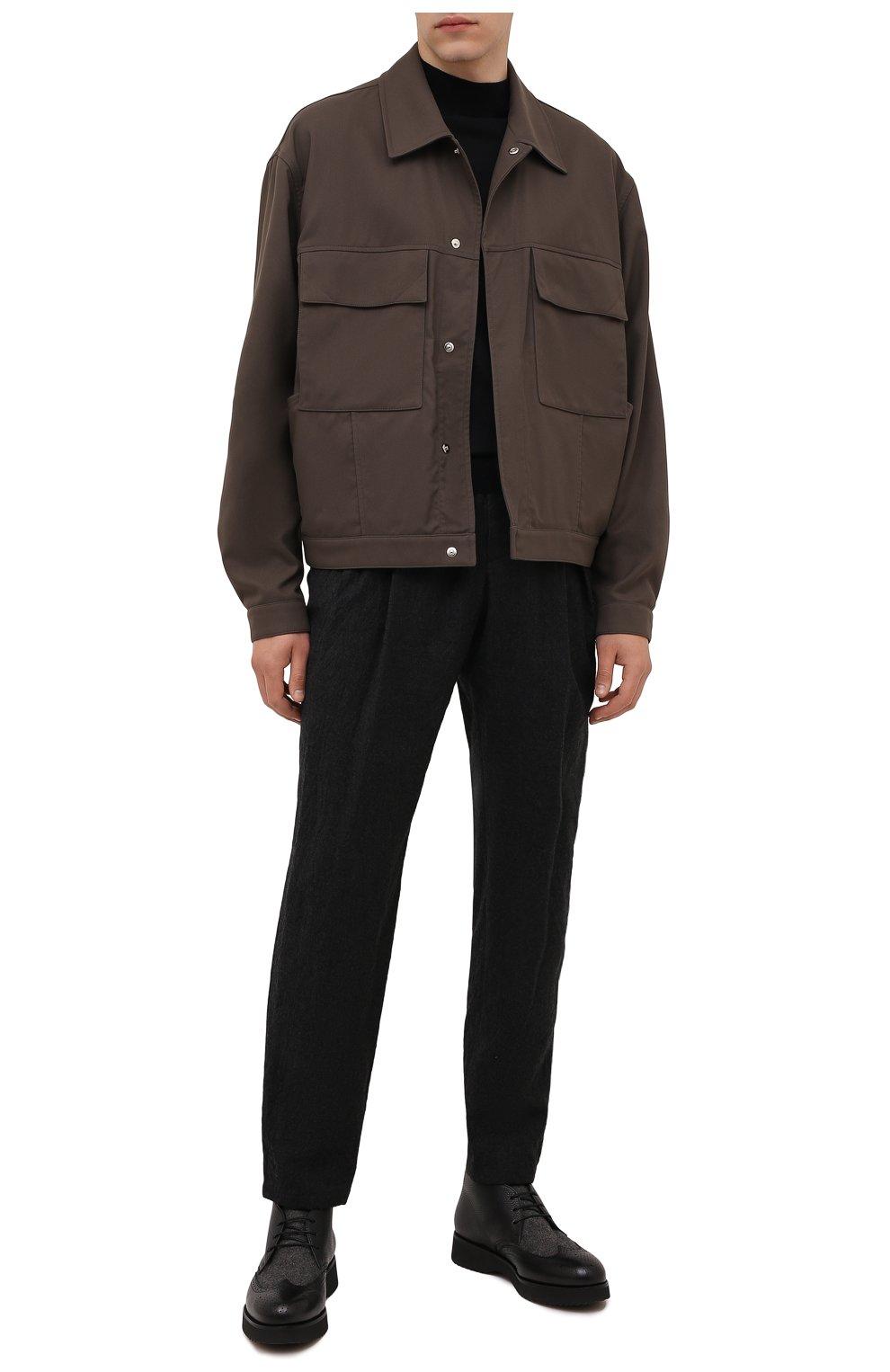 Мужские комбинированные ботинки DOUCAL'S черного цвета, арт. DU2888DAK0PT208NN00 | Фото 2 (Материал внешний: Текстиль; Мужское Кросс-КТ: Ботинки-обувь, Дезерты-обувь; Материал внутренний: Натуральная кожа, Текстиль; Подошва: Плоская)