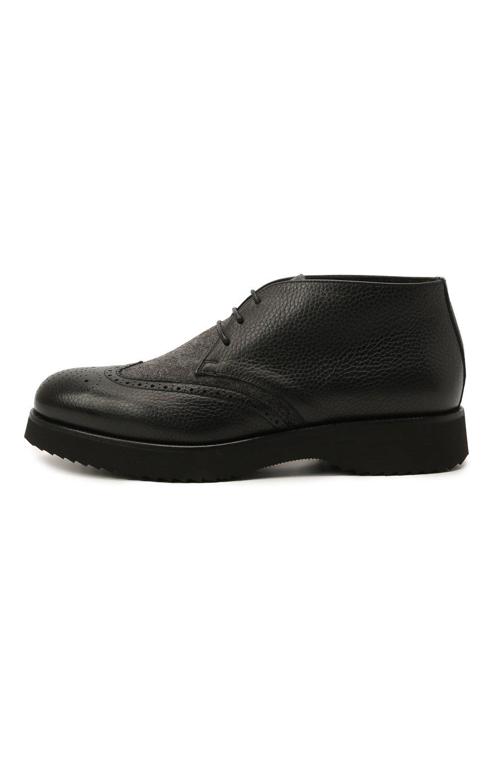 Мужские комбинированные ботинки DOUCAL'S черного цвета, арт. DU2888DAK0PT208NN00 | Фото 3 (Материал внешний: Текстиль; Мужское Кросс-КТ: Ботинки-обувь, Дезерты-обувь; Материал внутренний: Натуральная кожа, Текстиль; Подошва: Плоская)