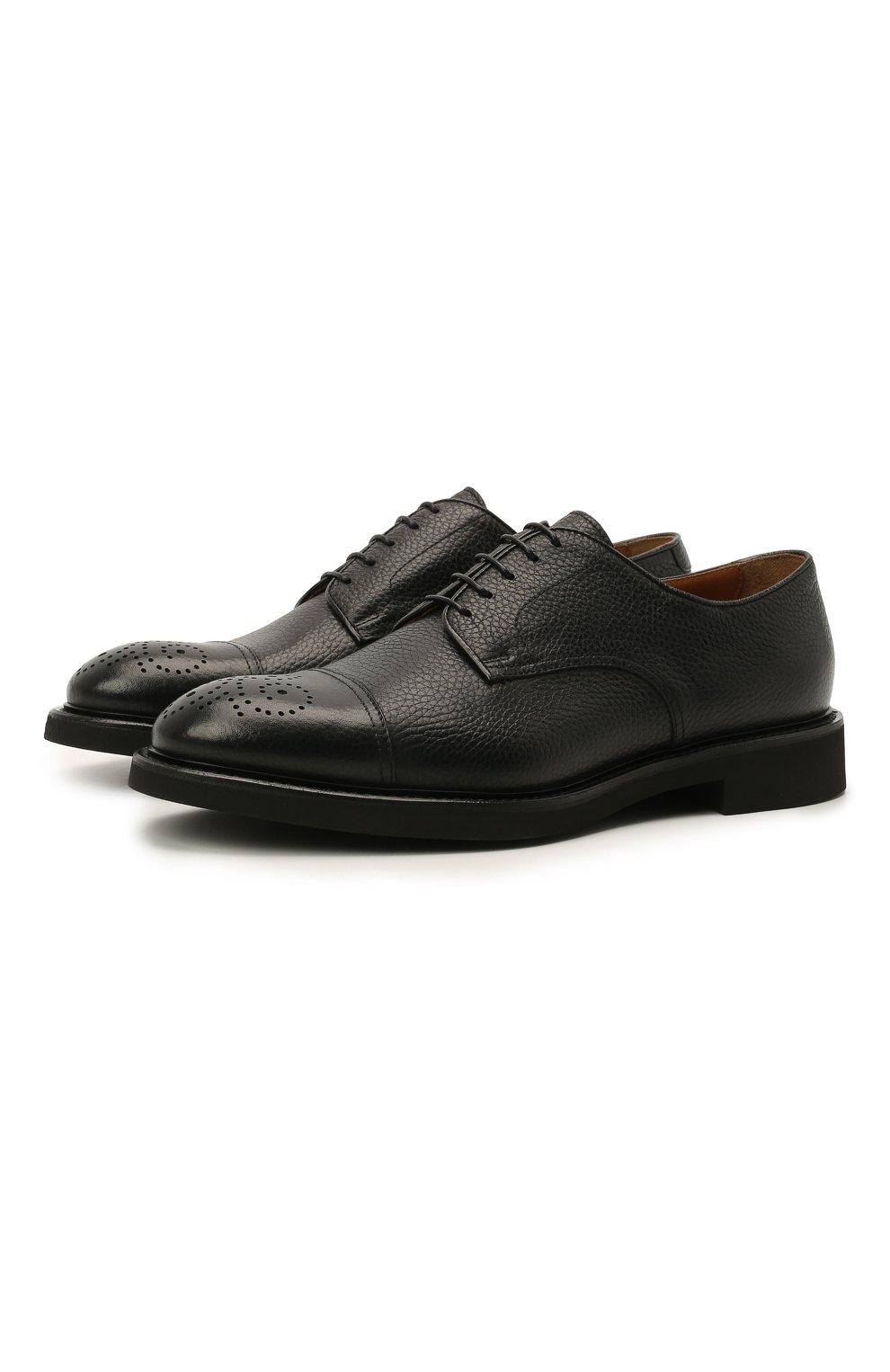 Мужские кожаные дерби DOUCAL'S черного цвета, арт. DU2900VER0UF019NN00   Фото 1 (Мужское Кросс-КТ: Броги-обувь; Материал внутренний: Натуральная кожа; Стили: Классический)