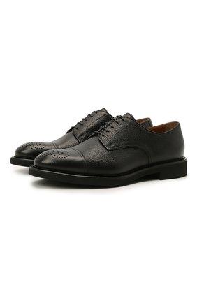 Мужские кожаные дерби DOUCAL'S черного цвета, арт. DU2900VER0UF019NN00 | Фото 1 (Материал внутренний: Натуральная кожа; Стили: Классический; Мужское Кросс-КТ: Броги-обувь)