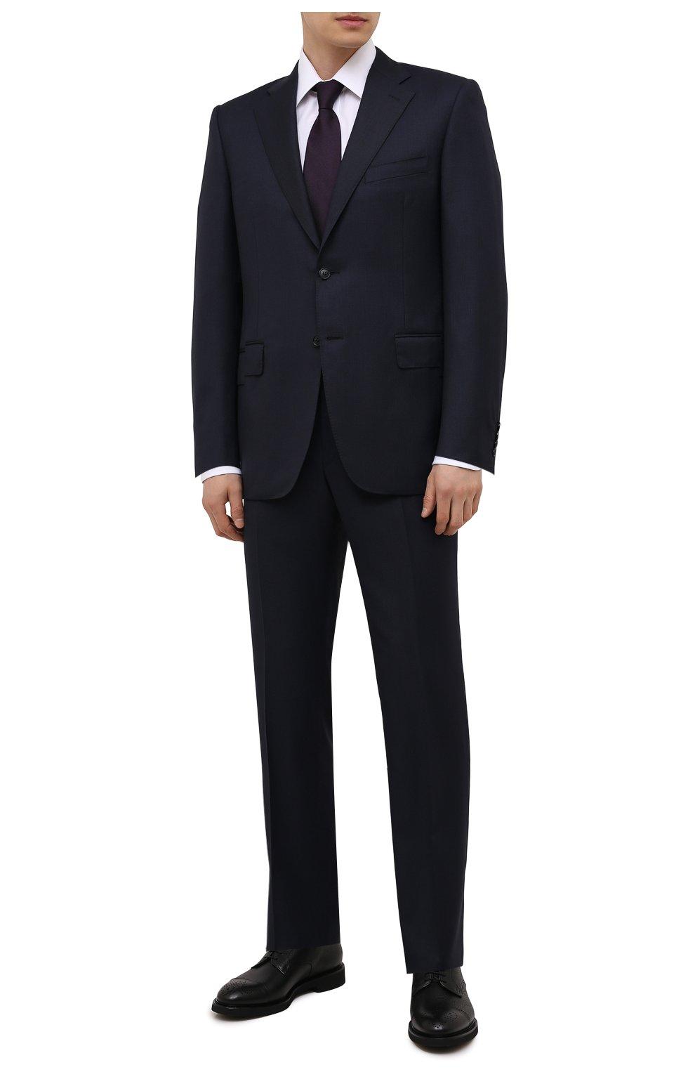 Мужские кожаные дерби DOUCAL'S черного цвета, арт. DU2900VER0UF019NN00   Фото 2 (Мужское Кросс-КТ: Броги-обувь; Материал внутренний: Натуральная кожа; Стили: Классический)