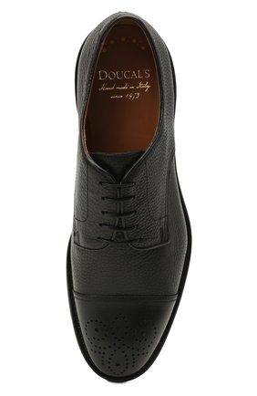 Мужские кожаные дерби DOUCAL'S черного цвета, арт. DU2900VER0UF019NN00   Фото 5 (Мужское Кросс-КТ: Броги-обувь; Материал внутренний: Натуральная кожа; Стили: Классический)