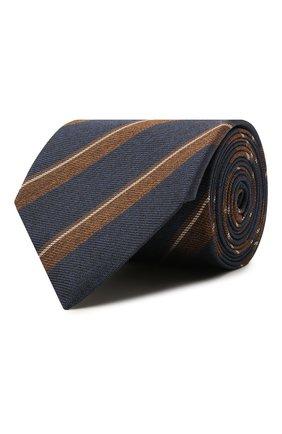 Мужской шелковый галстук BRIONI темно-синего цвета, арт. 062I00/01420 | Фото 1 (Материал: Текстиль; Принт: С принтом)