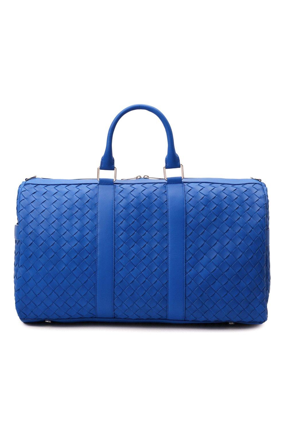 Мужская кожаная дорожная сумка BOTTEGA VENETA синего цвета, арт. 650066/V0E51   Фото 1 (Материал: Натуральная кожа; Ремень/цепочка: На ремешке)