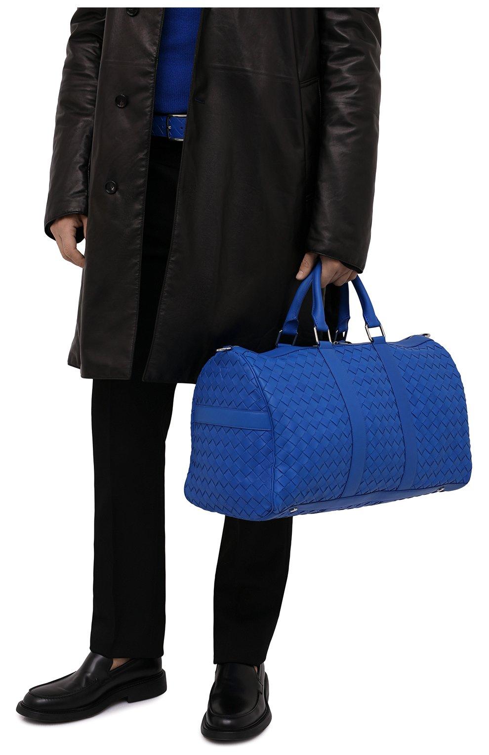 Мужская кожаная дорожная сумка BOTTEGA VENETA синего цвета, арт. 650066/V0E51   Фото 2 (Материал: Натуральная кожа; Ремень/цепочка: На ремешке)