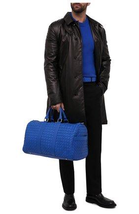Мужская кожаная дорожная сумка BOTTEGA VENETA синего цвета, арт. 650066/V0E51   Фото 3 (Материал: Натуральная кожа; Ремень/цепочка: На ремешке)