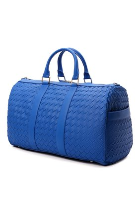 Мужская кожаная дорожная сумка BOTTEGA VENETA синего цвета, арт. 650066/V0E51   Фото 4 (Материал: Натуральная кожа; Ремень/цепочка: На ремешке)