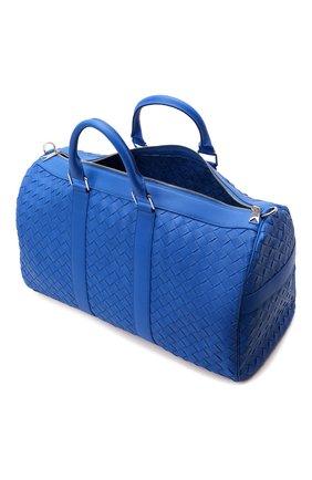 Мужская кожаная дорожная сумка BOTTEGA VENETA синего цвета, арт. 650066/V0E51   Фото 5 (Материал: Натуральная кожа; Ремень/цепочка: На ремешке)