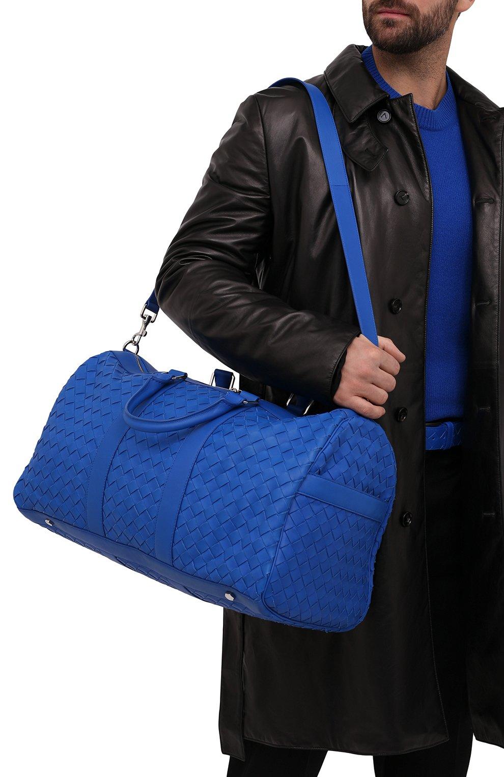 Мужская кожаная дорожная сумка BOTTEGA VENETA синего цвета, арт. 650066/V0E51   Фото 6 (Материал: Натуральная кожа; Ремень/цепочка: На ремешке)
