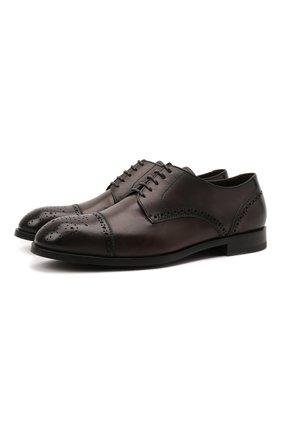 Мужские кожаные дерби ERMENEGILDO ZEGNA темно-коричневого цвета, арт. A5064X-LHNAX | Фото 1 (Материал внутренний: Натуральная кожа; Стили: Классический; Мужское Кросс-КТ: Броги-обувь)