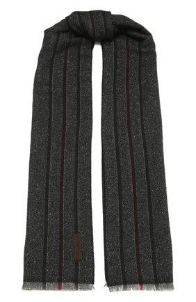 Мужской шарф из шерсти и шелка ERMENEGILDO ZEGNA темно-серого цвета, арт. Z2L07S/26F | Фото 1