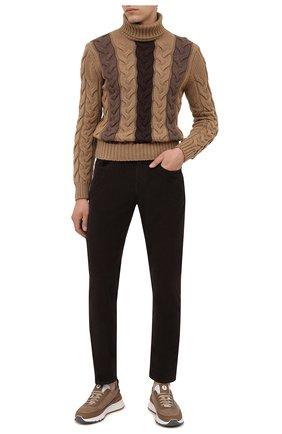 Мужские хлопковые брюки Z ZEGNA темно-коричневого цвета, арт. VY719/ZZ530 | Фото 2