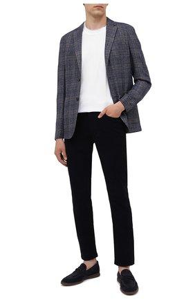 Мужские хлопковые брюки Z ZEGNA темно-синего цвета, арт. VY719/ZZ530 | Фото 2 (Длина (брюки, джинсы): Стандартные; Материал внешний: Хлопок; Случай: Повседневный; Стили: Кэжуэл)