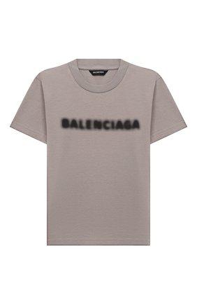 Детская хлопковая футболка BALENCIAGA серого цвета, арт. 556155/TKVC5 | Фото 1