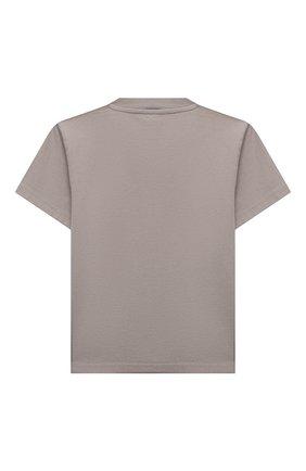 Детская хлопковая футболка BALENCIAGA серого цвета, арт. 556155/TKVC5 | Фото 2