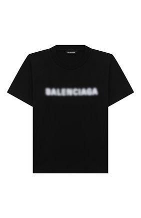 Детская хлопковая футболка BALENCIAGA черного цвета, арт. 556155/TKVC5   Фото 1