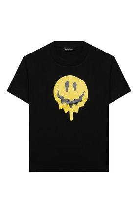 Детская хлопковая футболка BALENCIAGA черного цвета, арт. 556155/TKV55   Фото 1