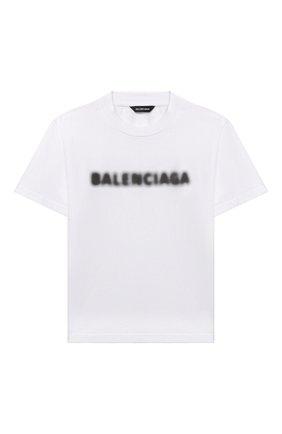 Детская хлопковая футболка BALENCIAGA белого цвета, арт. 556155/TKVC5 | Фото 1