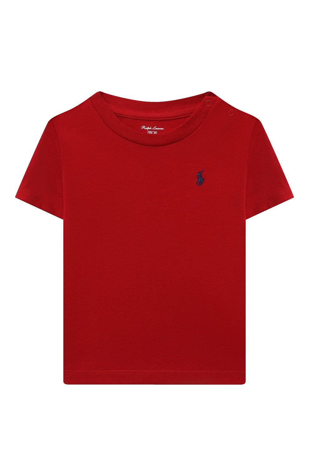 Детский хлопковая футболка POLO RALPH LAUREN красного цвета, арт. 320832904 | Фото 1 (Рукава: Короткие; Материал внешний: Хлопок; Ростовка одежда: 9 мес | 74 см, 12 мес | 80 см)