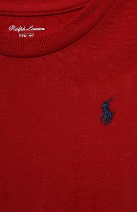 Детский хлопковая футболка POLO RALPH LAUREN красного цвета, арт. 320832904 | Фото 3 (Рукава: Короткие; Материал внешний: Хлопок; Ростовка одежда: 9 мес | 74 см, 12 мес | 80 см)
