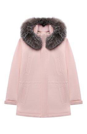 Детское кашемировое пальто LORO PIANA светло-розового цвета, арт. FAF8661 | Фото 1