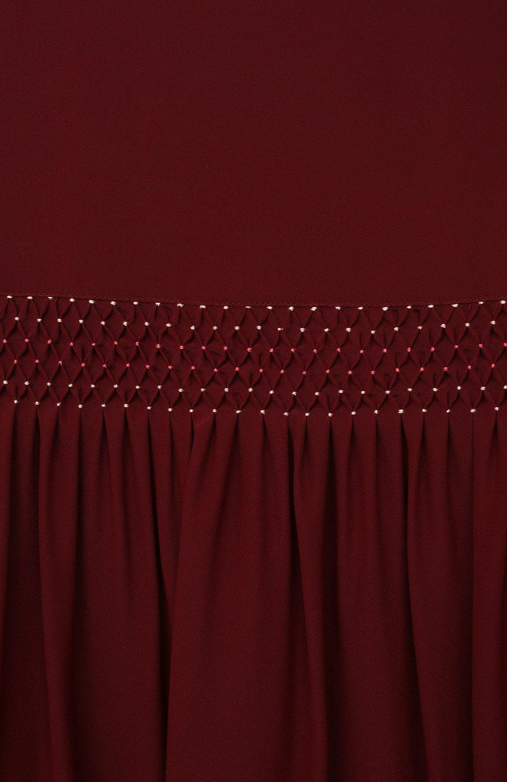Детское шелковое платье LORO PIANA бордового цвета, арт. FAL7485   Фото 3 (Материал внешний: Шелк; Рукава: Длинные; Случай: Повседневный; Материал подклада: Хлопок; Ростовка одежда: 10 - 11 лет   140 - 146см, 2 года   92 см, 4 года   104 см, 6 лет   116 см, 8 лет   128 см)
