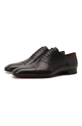 Мужские кожаные оксфорды greggo CHRISTIAN LOUBOUTIN темно-серого цвета, арт. 3170557/GREGG0 FLAT   Фото 1