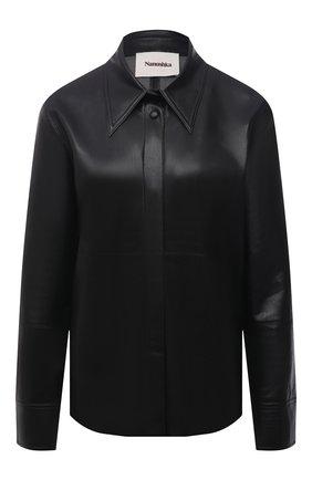 Женская рубашка из экокожи NANUSHKA черного цвета, арт. NW20CRSH02299   Фото 1