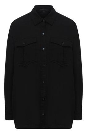 Женская льняная рубашка JAMES PERSE черного цвета, арт. WLSL3647 | Фото 1