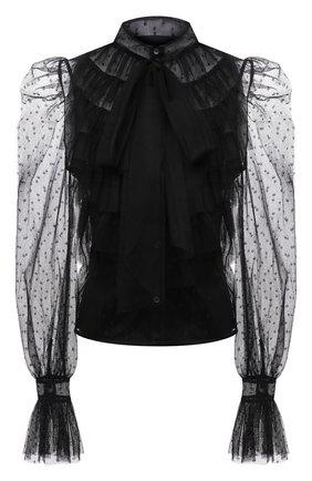Женская блузка REDVALENTINO черного цвета, арт. WR3ABG90/5MM | Фото 1 (Материал внешний: Синтетический материал; Длина (для топов): Стандартные; Принт: Без принта; Материал подклада: Синтетический материал; Женское Кросс-КТ: Блуза-одежда; Рукава: Длинные; Стили: Романтичный)
