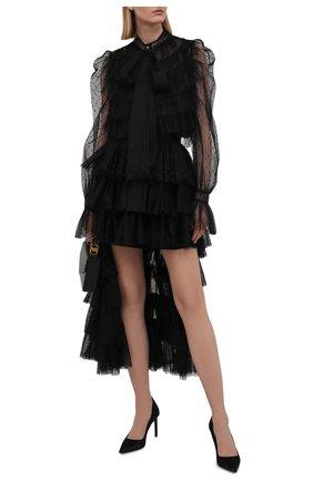 Женская блузка REDVALENTINO черного цвета, арт. WR3ABG90/5MM | Фото 2 (Материал внешний: Синтетический материал; Длина (для топов): Стандартные; Принт: Без принта; Материал подклада: Синтетический материал; Женское Кросс-КТ: Блуза-одежда; Рукава: Длинные; Стили: Романтичный)