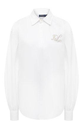 Женская хлопковая рубашка POLO RALPH LAUREN белого цвета, арт. 211838909   Фото 1 (Материал внешний: Хлопок; Длина (для топов): Стандартные; Принт: Без принта; Рукава: Длинные; Стили: Кэжуэл; Женское Кросс-КТ: Рубашка-одежда)