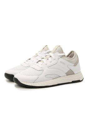 Мужские комбинированные кроссовки BOSS белого цвета, арт. 50462797 | Фото 1 (Материал внешний: Текстиль; Подошва: Массивная; Стили: Спорт)