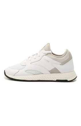Мужские комбинированные кроссовки BOSS белого цвета, арт. 50462797 | Фото 2 (Материал внешний: Текстиль; Подошва: Массивная; Стили: Спорт)