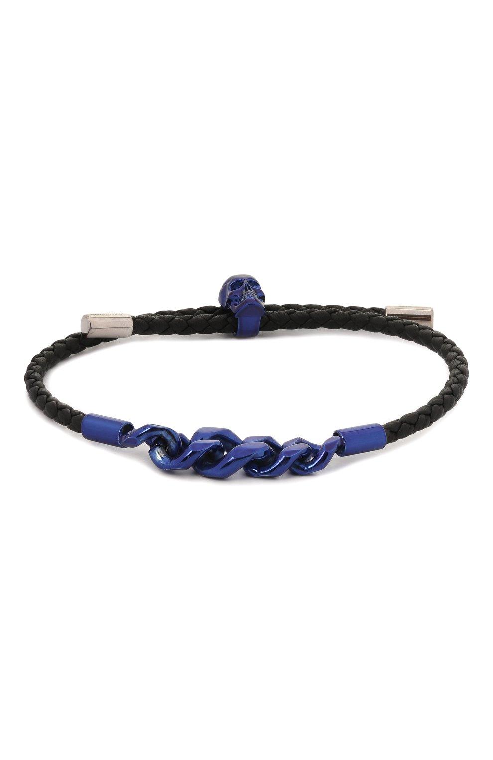 Мужской кожаный браслет ALEXANDER MCQUEEN черного цвета, арт. 663873/1AAC0 | Фото 1