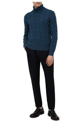 Мужской шерстяной свитер GRAN SASSO бирюзового цвета, арт. 13131/22610 | Фото 2 (Материал внешний: Шерсть; Принт: Без принта; Длина (для топов): Стандартные; Рукава: Длинные; Стили: Кэжуэл; Мужское Кросс-КТ: Свитер-одежда)