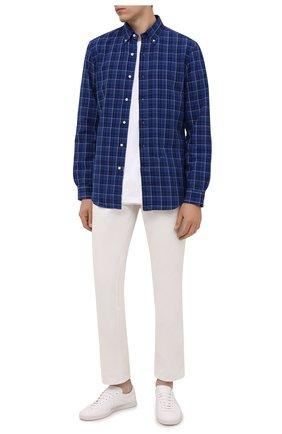 Мужская хлопковая рубашка POLO RALPH LAUREN синего цвета, арт. 710829473/5386   Фото 2