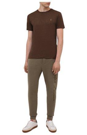 Мужская хлопковая футболка POLO RALPH LAUREN коричневого цвета, арт. 710740727   Фото 2