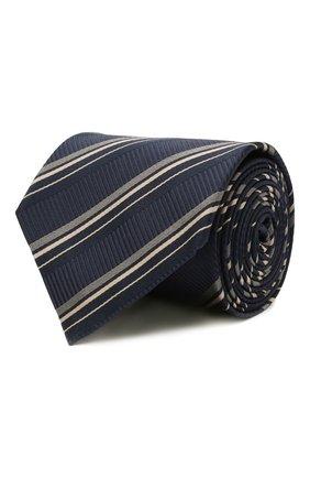 Мужской шелковый галстук BRIONI темно-синего цвета, арт. 062I00/01417 | Фото 1 (Материал: Текстиль, Шелк; Принт: С принтом)