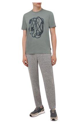 Мужская хлопковая футболка Z ZEGNA зеленого цвета, арт. VY367/ZZ630Q | Фото 2