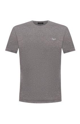 Мужская хлопковая футболка ERMENEGILDO ZEGNA серого цвета, арт. UY526/707R | Фото 1 (Материал внешний: Хлопок; Длина (для топов): Стандартные; Принт: Без принта; Рукава: Короткие; Стили: Кэжуэл)