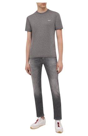 Мужская хлопковая футболка ERMENEGILDO ZEGNA серого цвета, арт. UY526/707R | Фото 2 (Материал внешний: Хлопок; Длина (для топов): Стандартные; Принт: Без принта; Рукава: Короткие; Стили: Кэжуэл)