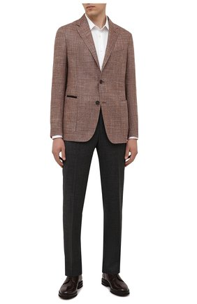 Мужские шерстяные брюки ERMENEGILDO ZEGNA темно-серого цвета, арт. 244F00/75TB12 | Фото 2 (Длина (брюки, джинсы): Стандартные; Материал внешний: Шерсть; Случай: Формальный; Стили: Классический; Материал подклада: Вискоза)