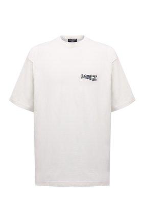 Мужская хлопковая футболка BALENCIAGA кремвого цвета, арт. 641675/TKVJ1 | Фото 1 (Материал внешний: Хлопок; Рукава: Короткие; Длина (для топов): Удлиненные; Принт: С принтом; Стили: Гранж)