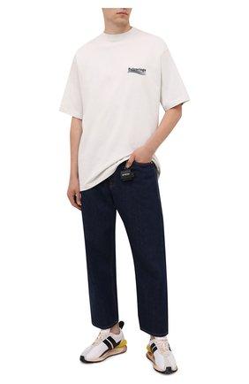 Мужская хлопковая футболка BALENCIAGA кремвого цвета, арт. 641675/TKVJ1 | Фото 2 (Материал внешний: Хлопок; Рукава: Короткие; Длина (для топов): Удлиненные; Принт: С принтом; Стили: Гранж)